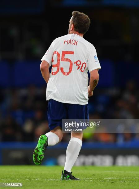 Lee Mack of England wears the number 95.80 on his shirt during the Soccer Aid for UNICEF 2019 match between England and the Soccer Aid World XI at...