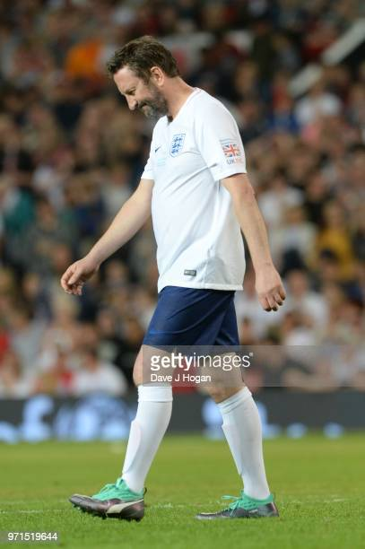 Lee Mack reacts after missing a penalty during Soccer Aid for Unicef 2018 at Old Trafford on June 10 2018 in Manchester England at Old Trafford on...