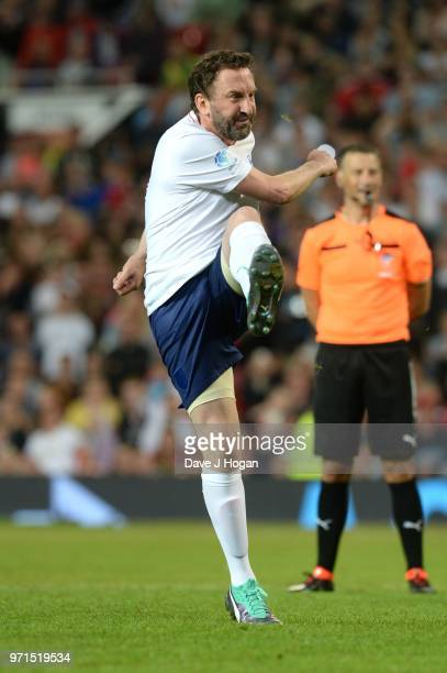 Lee Mack takes a penalty during Soccer Aid for Unicef 2018 at Old Trafford on June 10 2018 in Manchester England at Old Trafford on June 10 2018 in...