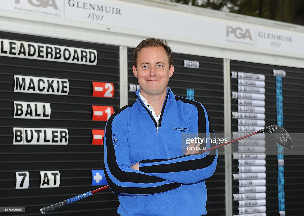 Lee Mackie of Cranfield Golf Academy poses for photographs after winning the Glenmuir PGA Professional Championship Midland Region Qualifier at Little Aston Golf Club on May 03, 2013 in Sutton Coldfield, England.