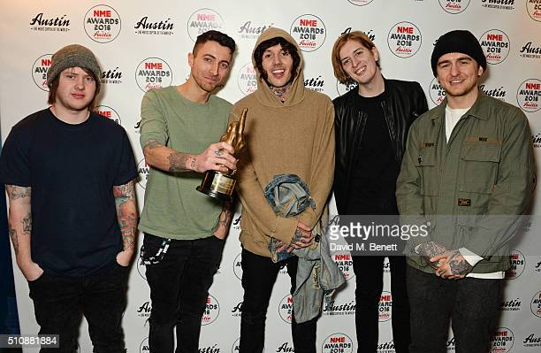 Lee Malia Jordan Fish Oliver Sykes Matt Kean and Matthew Nicholls of Bring Me The Horizon winners of the NME Innovation Award pose in the Winners...