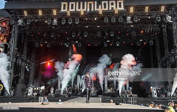 Lee Malie Jordan Fish Matt Kean Oliver Sykes and Brendan MacDonald of Bring Me The Horizon perform on stage at Download Festival at Donnington Park...