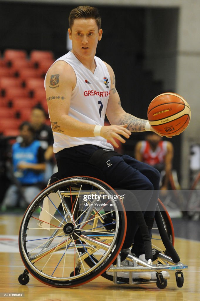 Lee Manning of Great Britain in action during the Wheelchair Basketball World Challenge Cup match between Great Britain and Turkey at the Tokyo Metropolitan Gymnasium on August 31, 2017 in Tokyo, Japan.