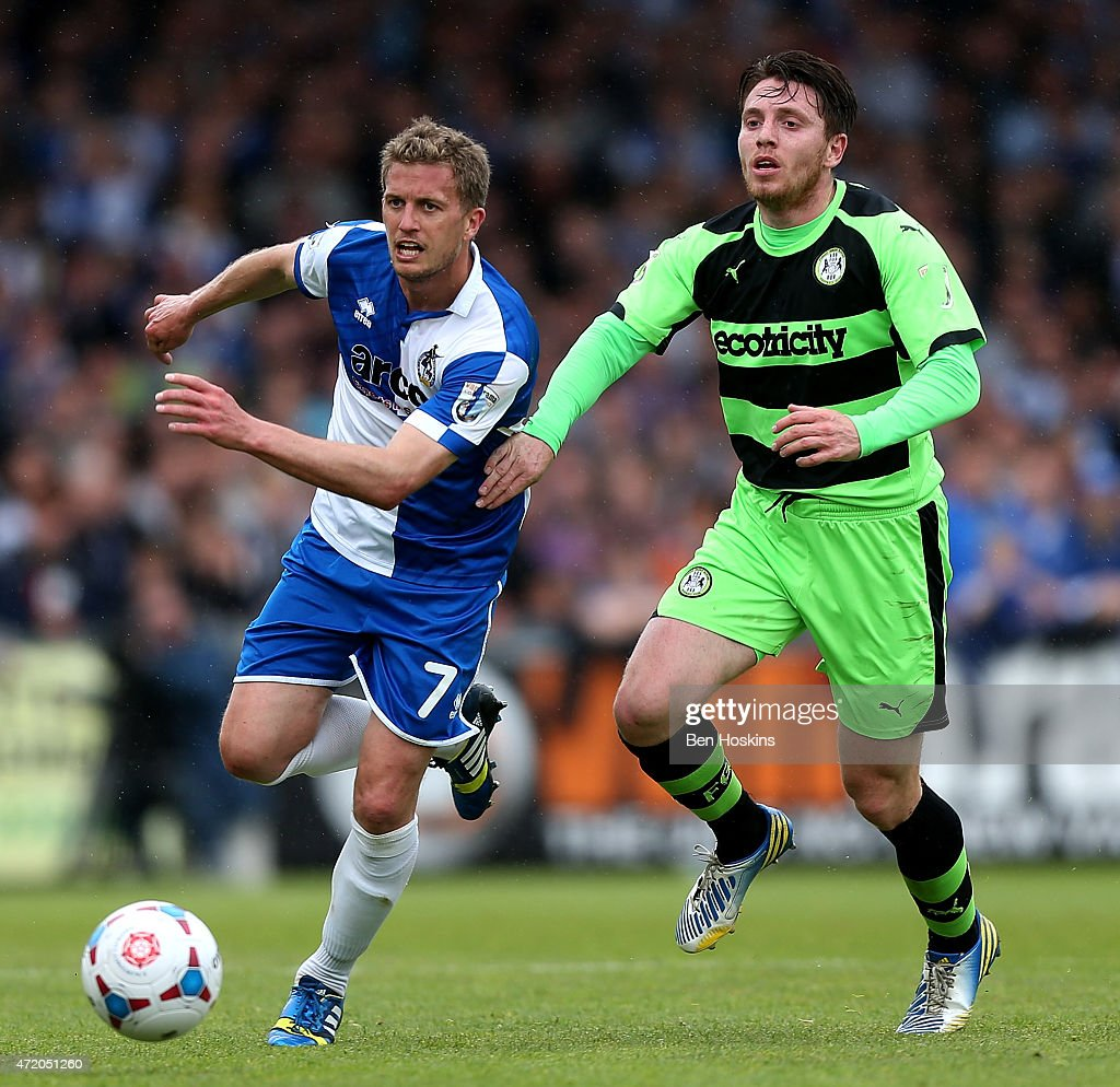Lee Mansell of Bristol holds off pressure from James Marwood of Forest Green during the Vanarama Football Conference League Play Off Semi Final Second Leg between Bristol Rovers and Forest Green Rovers at Memorial Stadium on May 3, 2015 in Bristol, England.