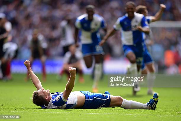 Lee Mansell of Bristol Rovers celebrates scoring the winning penalty in the shoot out during the Vanarama Conference Playoff Final match between...