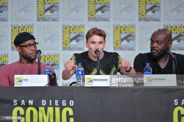 Lee Mark Jackson and Peter Macon speak at The Orville Panel during 2019 ComicCon International at San Diego Convention Center on July 20 2019 in San...