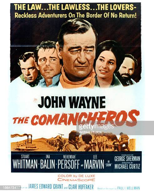 Lee Marvin Stuart Whitman John Wayne Ina Balin and Nehemiah Persoff in movie art for the film 'The Comancheros' 1961