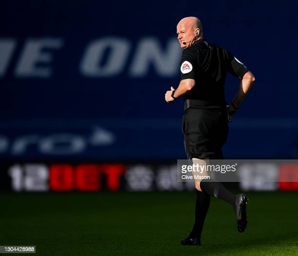 Lee Mason, match referee looks back during the Premier League match between West Bromwich Albion and Brighton & Hove Albion at The Hawthorns on...