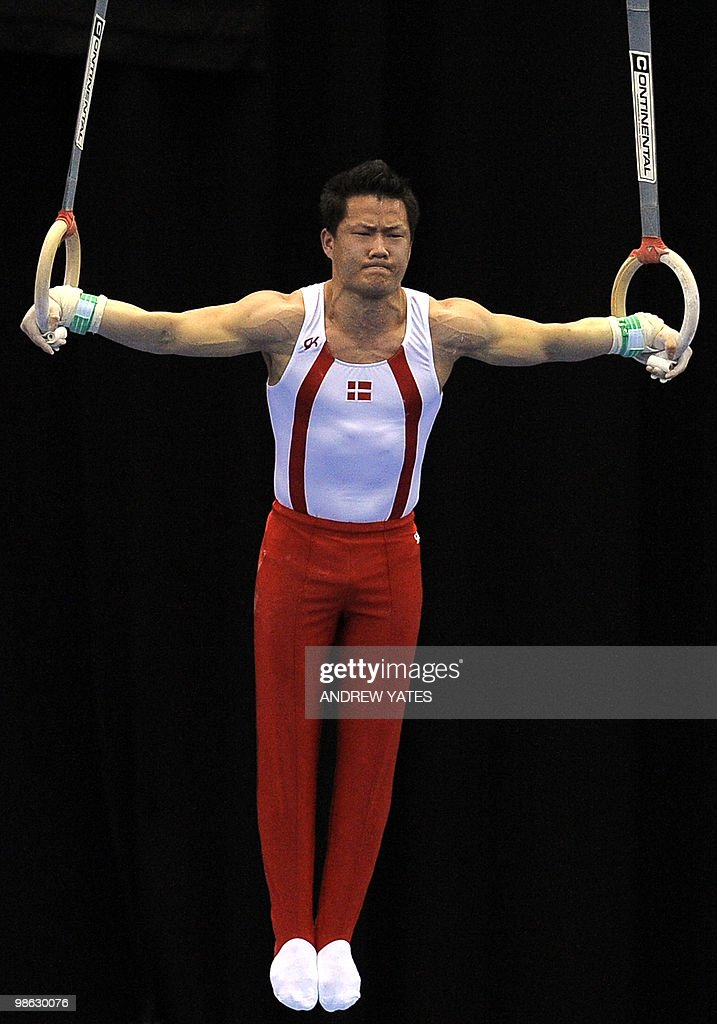 Lee Mathias Hansen of Denmark performs on the Rings during the mens senior qualification round, in the European Artistic Gymnastics Team Championships 2010, at the National indoor Arena in Birmingham, central England on April 23, 2010.