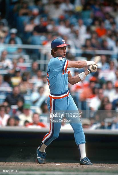 Lee Mazzilli of the Texas Rangers bats against the New York Yankees during an Major League Baseball game circa 1982 at Yankee Stadium in the Bronx...