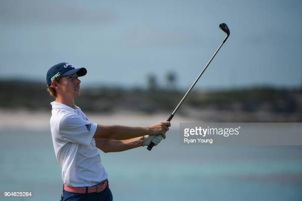 Lee McCoy plays his shot from the 13th tee during the first round of the Webcom Tour's The Bahamas Great Exuma Classic at Sandals Emerald Bay Emerald...