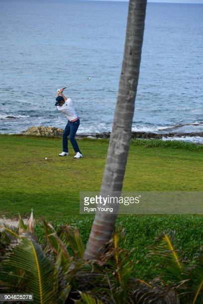 Lee McCoy plays his shot from the 14th tee during the first round of the Webcom Tour's The Bahamas Great Exuma Classic at Sandals Emerald Bay Emerald...