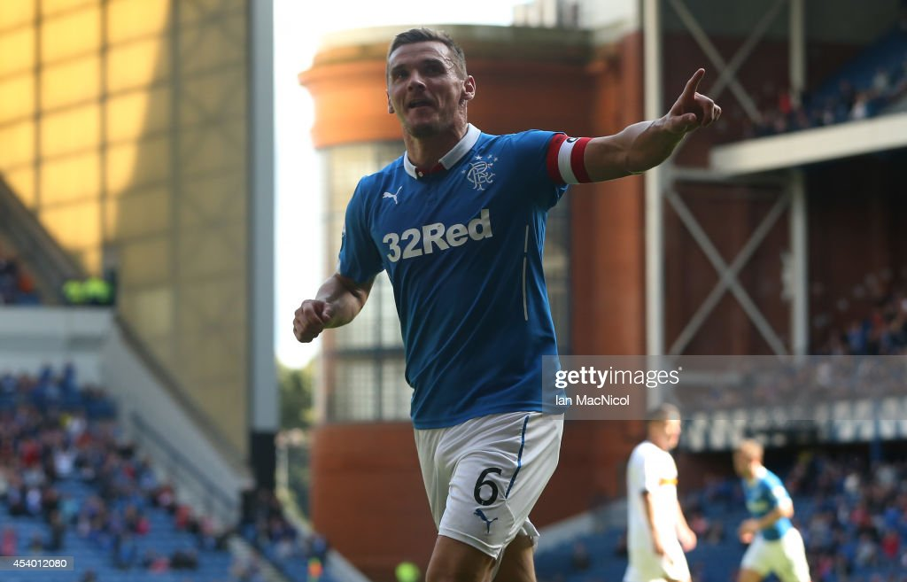 Lee McCulloch of Rangers celebrates after he scores during the Scottish Championship League Match between Rangers and Dumbarton, at Ibrox Stadium on August 23, 2014 Glasgow, Scotland.