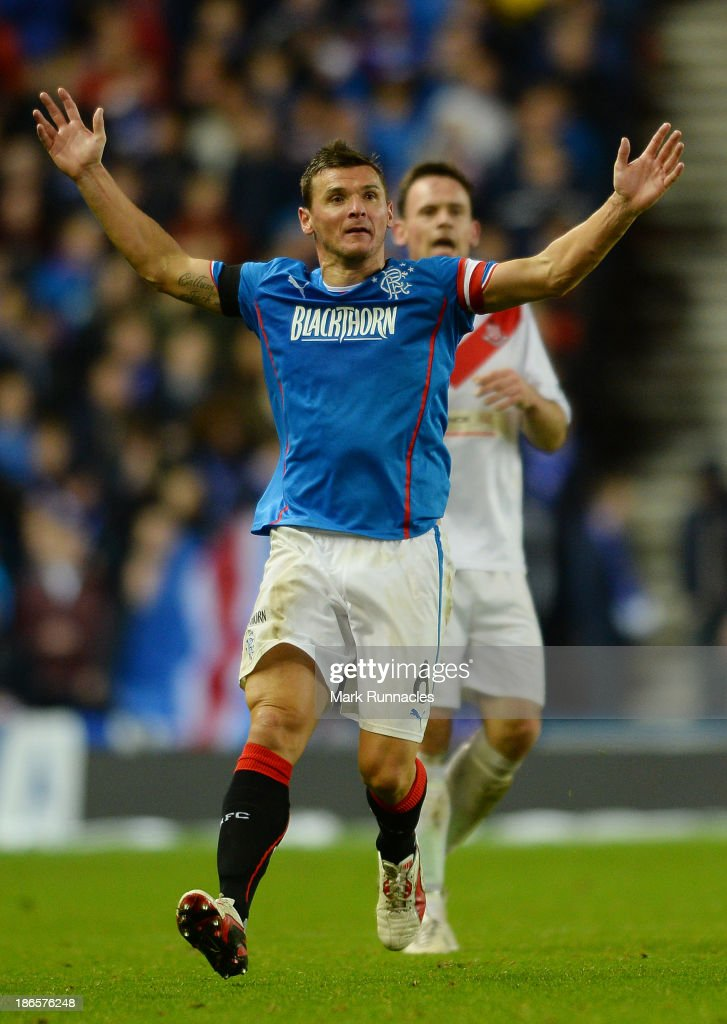 Lee McCulloch of Rangers gestures during the The William Hill Scottish Cup Third Round match between Rangers and Airdrieonians at Ibrox Stadium on November 1, 2013 in Glasgow, Scotland.