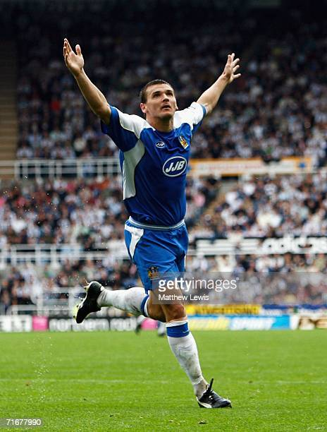 Lee McCulloch of Wigan celebrates his goal during the Barclays Premiership match between Newcastle United and Wigan Athletic at St.James Park on...