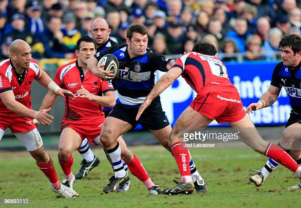 Lee Mears of Bath hands off Pat Sanderson of Worcester during the Guinness Premiership match between Bath and Worcester at the Recreation Ground on...