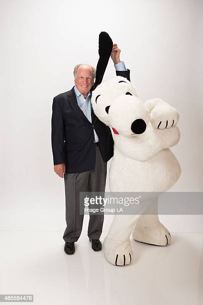 Lee Mendelson and Snoopy arrived at the ABC TCA SUMMER PRESS TOUR 2015 at the Beverly Hills Ballroom of The Beverly Hilton in Beverly Hills at Disney...