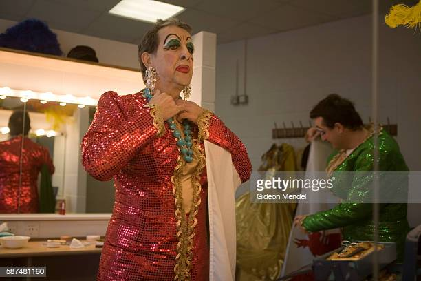 Lee Mengo and Brian Hibbard are pantomime dames playing the role of the Ugly Sisters in a production of Cinderella at the Riverfront Theatre in...