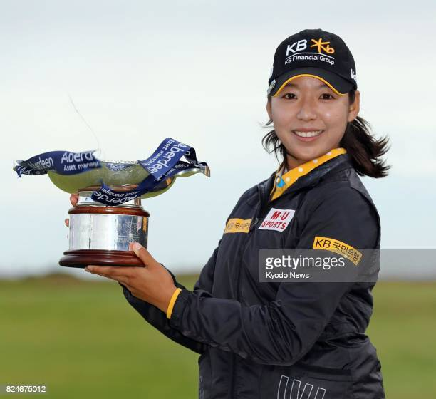 Lee Mi Hyang of South Korea holds the victor's trophy after winning the Ladies Scottish Open title with a 6under 282 at Dundonald Links in Gailes...