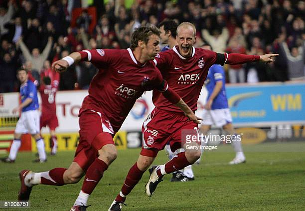 Lee Miller of Aberdeen celebrates his goal with Stuart Duff of Aberdeen during the Scottish Premier League Aberdeen v Rangers game at Pittodrie...