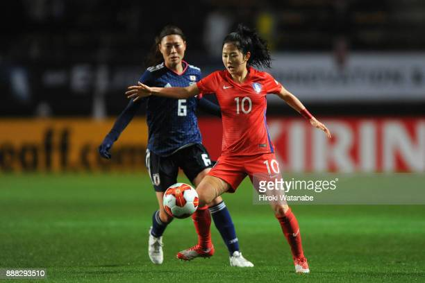 Lee Mina of South Korea controls the ball under pressure of Rumi Utsugi of Japan during the EAFF E1 Women's Football Championship between Japan and...