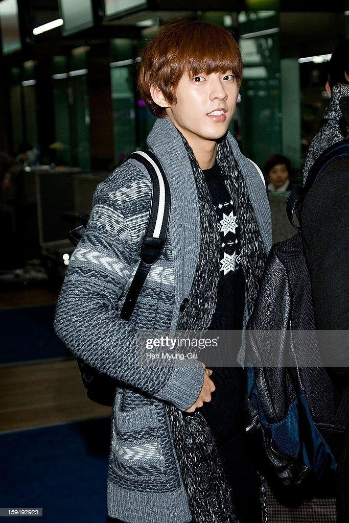 Lee Min-Hyuk of South Korean boy band BtoB is seen at Incheon International Airport on January 13, 2013 in Incheon, South Korea.