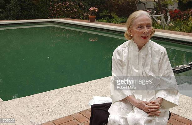 Lee Minnelli, the widow of deceased actor Vincent Minnelli poses outside their home March 28, 2002 in Beverly Hills, CA.