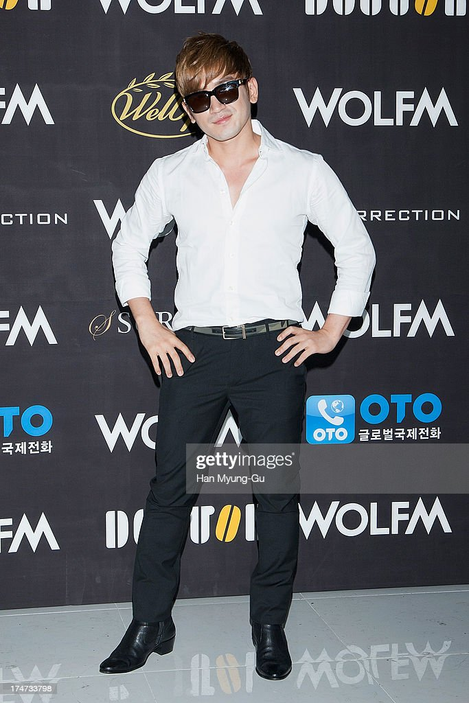 Lee Min-Woo of South Korean boy band Shinhwa attends during a promotional event for the 'Wolf-M' Launch Party at Club Ellui Store on July 28, 2013 in Seoul, South Korea.