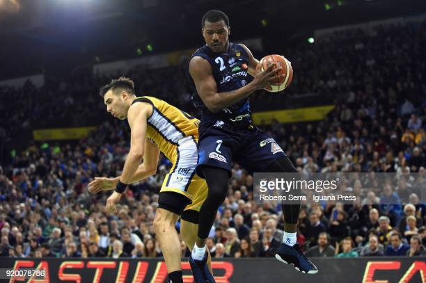Lee Moore of Germani competes with Aleksander Vujacic of Fiat during the LBA LegabLasket match ifinal of Coppa Italia between Auxilium Fiat Torino...
