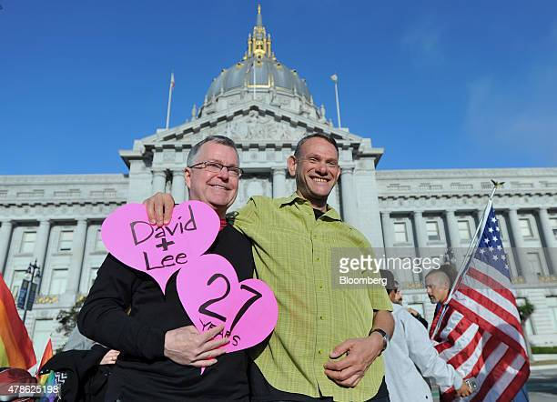 Lee Moulton left and David Fink a couple of 27 years smile outside of City Hall after the US Supreme Court ruled in favor of samesex marriage in San...