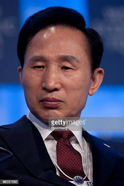 Lee Myung Bak president of South Korea waits to speak during a plenary session on day two of the 2010 World Economic Forum annual meeting in Davos...