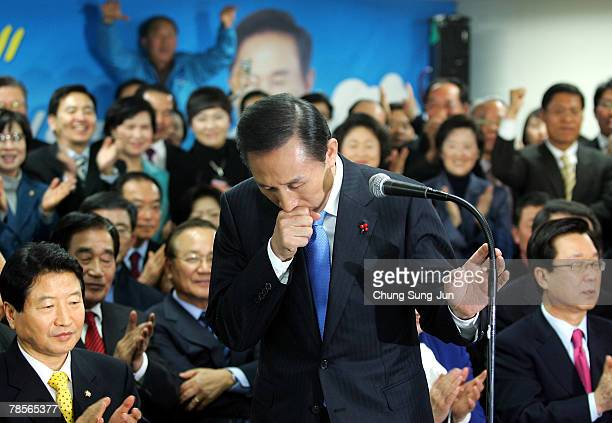 Lee MyungBak of the conservative main opposition Grand National Party makes a speech to party members after he is declared the winner of the...