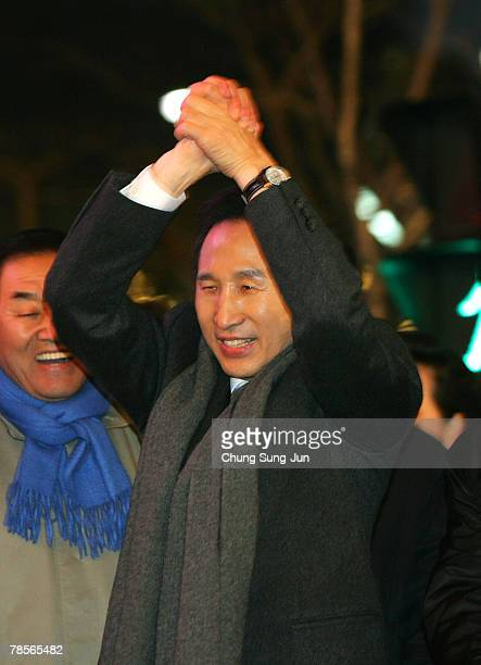 Lee MyungBak of the conservative main opposition Grand National Party celebrates with his supporters after he is declared the winner of the...