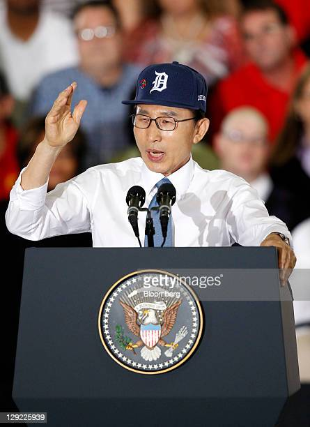 Lee Myung-bak, president of South Korea, speaks during an event with U.S. President Barack Obama at the General Motors Co. Orion Assembly Plant in...