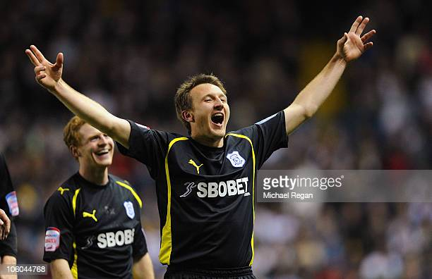 Lee Naylor of Cardiff celebrates scoring to make it 40 during the npower Championship match between Leeds United and Cardiff City at Elland Road on...