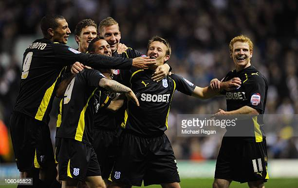Lee Naylor of Cardiff celebrates scoring to make it 40 with team mates during the npower Championship match between Leeds United and Cardiff City at...