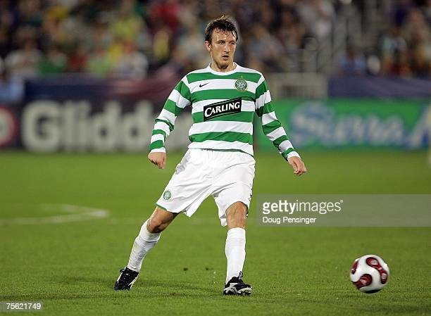 Lee Naylor of Glasgow Celtic FC plays the ball forward during the 2007 Sierra Mist MLS All-Star Game against the MLS All-Stars at Dick's Sporting...