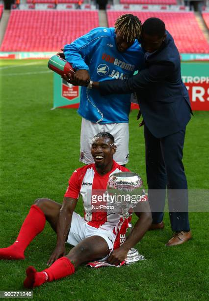 Lee Ndlovu of Brackley Town with Trophy during The Buildbase FA Trophy Final match between Brackley Town and Bromley at Wembley London England on 20...