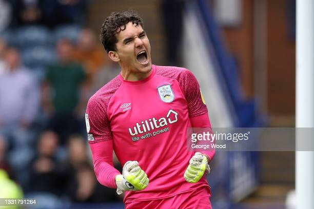 Lee Nicholls of Huddersfield Town celebrates after saving the Sheffield Wednesday third penalty taken by Massimo Luongo in the penalty shoot out...
