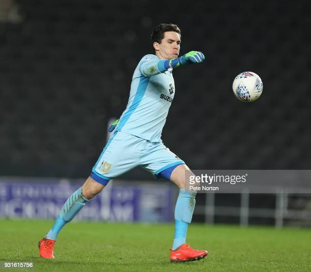 Lee Nicholls of Milton Keynes Dons in action during the Sky Bet League One match between Milton Keynes Dons and Rotherham United at StadiumMK on...