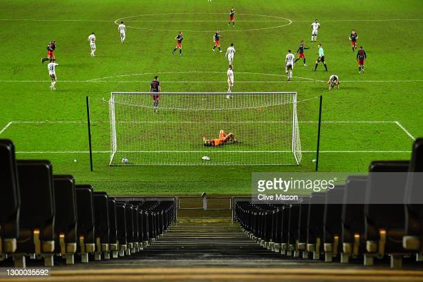 Lee Nicholls of MK Dons reacts as he concedes a goal during the Papa Johns Trophy match between Milton Keynes Donsd and Sunderland on February 02,...