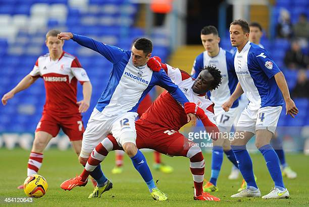 Lee Novak of Birmingham City and Kei Kamara of Middlesbrough battle for the ball during the Sky Bet Championship match between Birmingham City and...