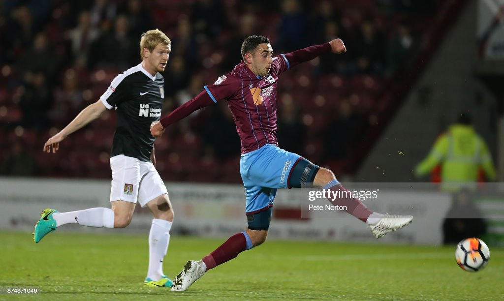 Lee Novak of Scunthorpe United attempts to control the ball during the Emirates FA Cup First Round Replay match between Scunthorpe United and Northampton Town at Glanford Park on November 14, 2017 in Scunthorpe, England.