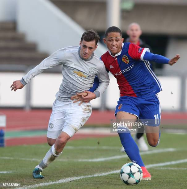 Lee O'Connor of Manchester United U19s in action during the UEFA Youth League match between FC Basel U19s and Manchester United U19s at...