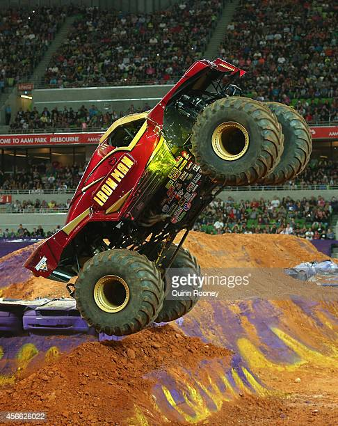Lee O'Donnell driving Iron Man jumps during Monster Jam at AAMI Park on October 4 2014 in Melbourne Australia