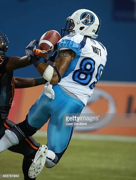 J Lee of the BC Lions breaks up a pass to Spencer Watt of the Toronto Argonauts during their game at Rogers Centre on August 17 2014 in Toronto Canada