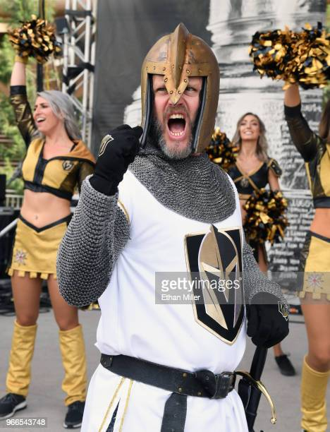 Lee Orchard as the Golden Knight arrives at a Vegas Golden Knights road game watch party for Game Three of the 2018 NHL Stanley Cup Final between the...