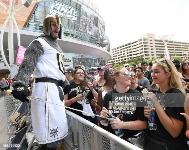 Lee Orchard as the Golden Knight gets fans pumped up at a Vegas Golden Knights road game watch party for Game Three of the 2018 NHL Stanley Cup Final...