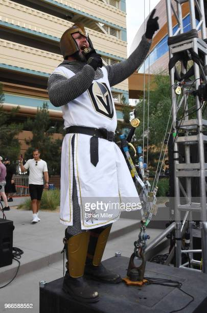Lee Orchard as the Golden Knight speaks to the crowd at a Vegas Golden Knights road game watch party for Game Three of the 2018 NHL Stanley Cup Final...