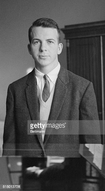 Lee Oswald of Fort Worth TX a US citizen applies for Soviet citizenship Photo shows Oswald in a waist up shot wearing a blazer and vneck sweater